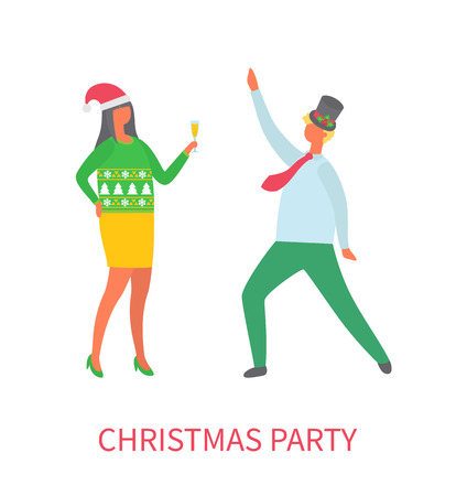Christmas Party Couple of Man and Woman Dancing Stock Photo