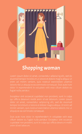 Woman Client in Changing Room Shopping Vector