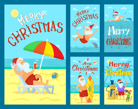 Merry Christmas, Santa Claus lying on sunbed under color umbrella. Father frost jumping into water, surfboarding, decorating abstract Xmas tree with monkey