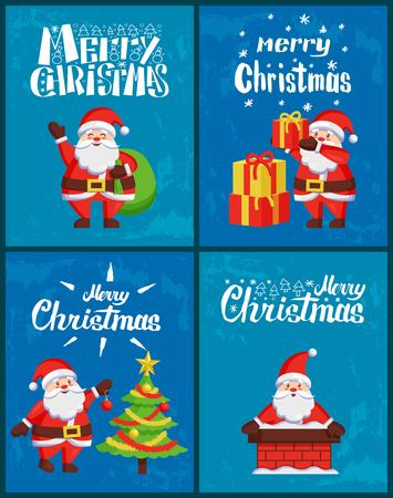 Frohe Weihnachtsgrußkarte Väterchen Frost mit Sack voller Geschenke, Geschenke auf Stapel legen, Weihnachtsbaum schmücken, im Schornstein sitzen. Abenteuer vom Weihnachtsmann