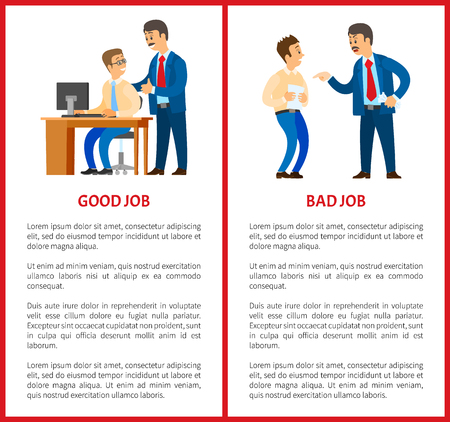 Good and bad job, chief executive at work set of posters vector. Employer with employees, leader handshaking workmate, praising colleague with file