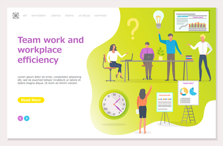 Teamwork and workplace efficiency, business seminar vector. Boss and workers on conference with presentation charts diagrams on whiteboard explanation