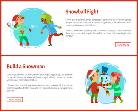 Snowball fights and build a snowman postcards. Happy holidays, children making man of snow, fighting by icy balls, vector posters, text sample and circle
