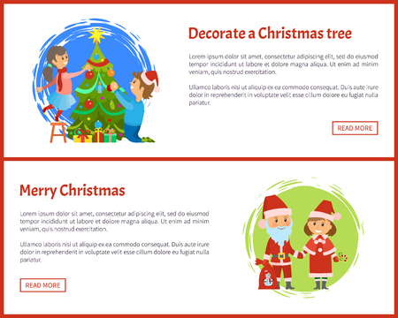 Decorated Christmas tree and Merry Christmas web site pages, Santa Claus and Snow maiden, helper in traditional costumes vector. Winter holidays characters