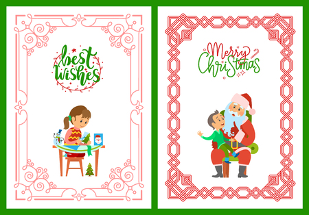 Girl making postcard with best wishes, cutting New Year tree from paper. Merry Christmas poster, Santa Claus and kid making wish to Saint Nicholas, vector