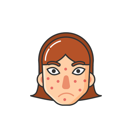 Girl with rash on face, skin problem caused by sickness isolated icon vector. Allergic reaction to natural products, allergy flat style, health care