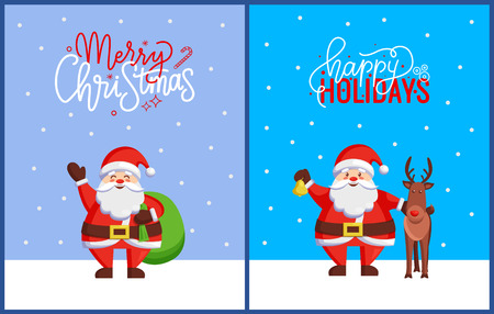 Merry Christmas greeting cards with Santa Claus standing with huge sack of presents. Vector cartoon character Father Frost hold jingle bell and deer