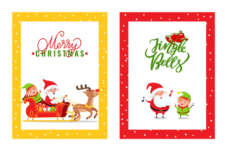 Cards with Santa Claus, Reindeer, Elf, Dwarf. Vector cartoon heroes in carriage full of presents and box gifts merry singing songs on Christmas holidays Illustration