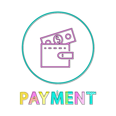 Online payment icon, linear outline style. Wallet with dollar sign, gadget concept and website design simple line symbol in circle vector illustration