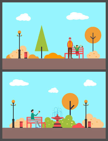 Man with little girl in autumnal park relaxing, father daughter on bench vector. Person holding bird on hand, fountain and trees, lanterns exterior