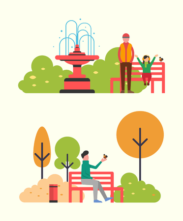 Man sitting on bench and holding bird in hands. Father and daughter walking in autumn park. Fall landscape and color trees. Vector bin and fountain Illustration