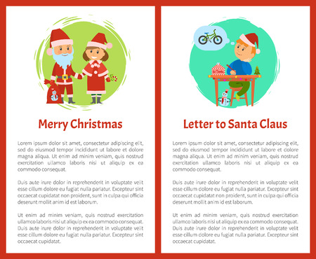 Merry Christmas letter to Santa Claus written by small boy vector. Winter characters Snow Maiden with candy, Saint Nicholas holding sack with presents Ilustração