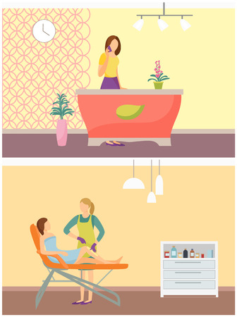 Reception woman receptionist and depilation spa salon interior poster. Woman lying on chair and cosmetician making wax or sugaring epilation on legs Archivio Fotografico - 113770426