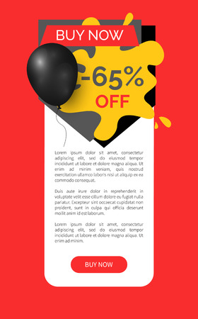 Buy now 65 percent discount, shop and store sale vector web site template. Banner with text and inflatable balloon, commerce trading business promotion Illustration