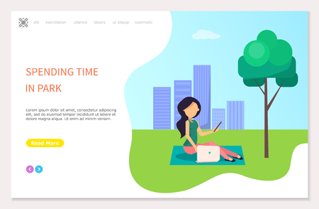 Spending time in park poster with girl sitting on grass and making selfie. Woman freelancer walking outdoors on background of buildings, web page vector