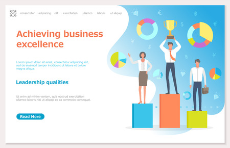 Achieving business excellence, people with prize vector. Money currencies dollars and euros, businessman and businesswoman, leader boss and workers