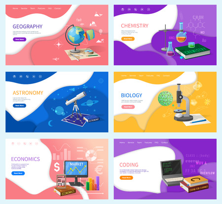 School subjects, education and knowledge. Geography and chemistry, astronomy and biology, economics and coding Internet banners vector illustration