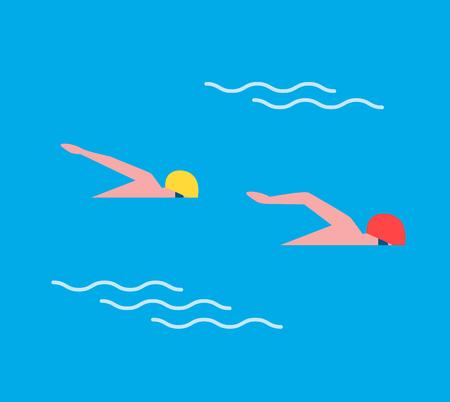 Man Males in Sport Swimming Vector Illustration