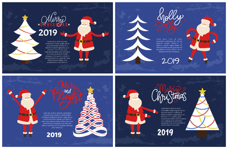 Merry Bright Greeting Card Santa Holding Hands Up