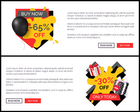 Buy Now 65 Percent Discount Shop Store Sale Poster Stock Photo