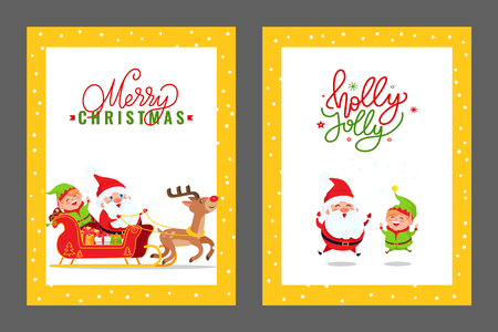 Merry Christmas cards with Santa, Elf and Deer. Vector cartoon images of Father Frost, dwarf and reindeer riding carriage full of presents and gift boxes