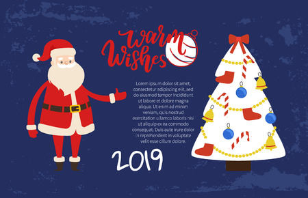 Warm wishes greeting card on 2019 New Year holiday. Vector postcard Santa and decorated Xmas tree topped by bow with socks, candies, toys and balls  イラスト・ベクター素材