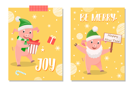 Wishes greeting with smiling piggy in green hat and Santa beard holding card wishes happy new year. Pig in scarf with gift box near sweet vector postcard Ilustração