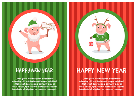 Cartoon Pig in Green Hat and in Santa Claus Beard Illustration