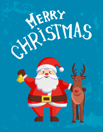 Merry Christmas Greeting Card Santa Claus and Deer
