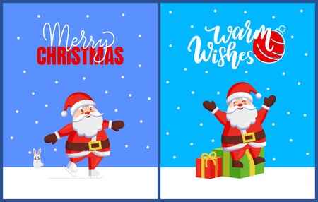 Merry Christmas Set of Cards with Santa and Bunny Illustration