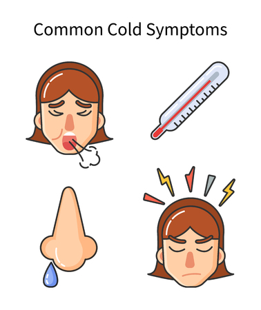 Common cold symptoms, sick girl isolated icons vector. Fever high temperature, runny nose drop, female coughing, headache and bolts of pain anger