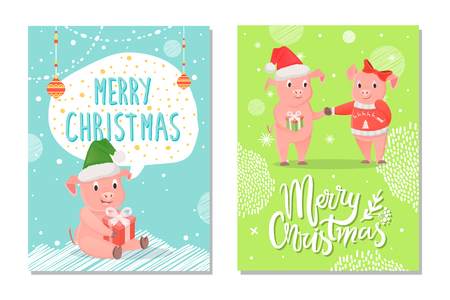 Greeting card Merry Christmas 2019 illustration. Sitting pink piggy in santa hat with gift box. Boy in red cap holding gift. Girl in jersey and bow vector Illusztráció