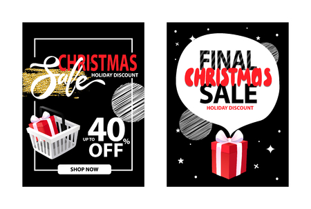 Sale on Christmas holiday, leaflet with info about discounts up to 40 percent off, shop now button. Shopping cart with gift, frame, dots and splashes