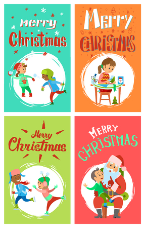 Merry Christmas greeting cards set. Vector children playing snowballs, skating outdoors, girl making hand made presents, boy telling wishes to Santa Claus