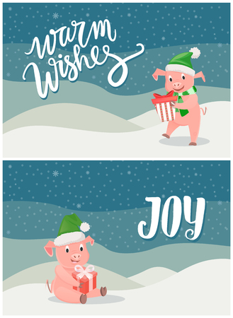 Warm Wishes and Joy Greeting Cards, Piglets Symbol
