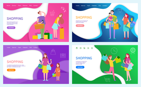 Shopping ladies, family of shoppers posters set with text sample vector. Customers with purchased products and gift for holidays. Presents packages