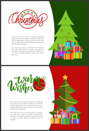 Wishes of happy New Year. Merry Christmas postcards with green Xmas trees with cones, presents in decorative wrappings. Lettering inscriptions on invitations. Vectores