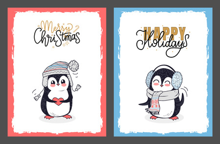 Merry christmas and happy holidays postcards. Penguins dressed in knitted gray scarf, winter hat and ear muffs, calligraphic lettering with snowflakes