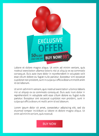 Exclusive offer 50 percents buy now, web page template vector. Balloons and ribbons with proposition of market, shop with reduced prices buy now items