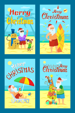 Merry Christmas, Santa Claus making photo with snowman, vector surfboarder and old man on sleigh with fruits, diving in water, Nicholas on summer holidays