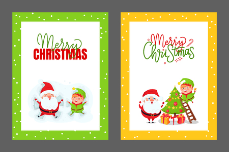 Greeting cards Christmas tree, Santa and elf. Vector huge xmas spruce decorated by happy dwarf and Father Frost from ladder, gift boxes under fir Illustration