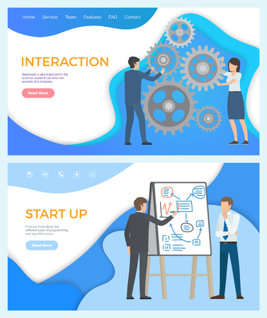 Interaction and start up teamwork in the business world and success company. Find out more about different types of programming and algorithmization vector