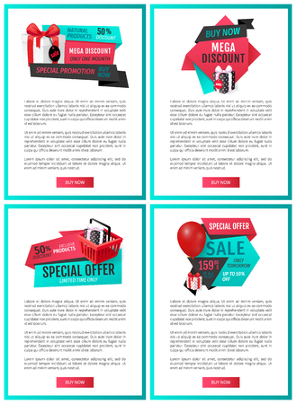 Leaflets with gift boxes and shopping cart, get presents for purchases. Special offer on exclusive products vector price tags on online promo vouchers Illustration