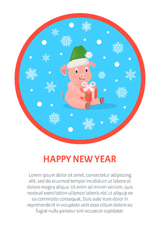Pig with Gift Box in Hat, New Year or Christmas. Ilustrace