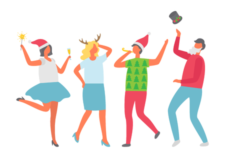 Females in Santa hat, cartoon characters isolated vector. Happy people celebrating Christmas party. Dancing man, woman in green sweater with fir trees Illustration