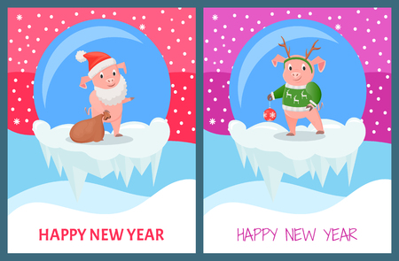 Happy New Year, Pig Wearing Knitted Sweater Print
