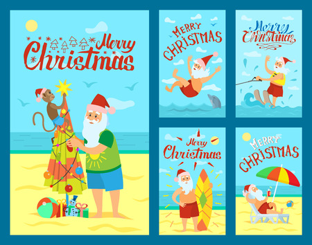 Merry Christmas, Santa Claus and surfing board, Xmas character on summer rest riding on water skis. Vector Saint Nicholas resting on sunbed, swimming with dolphin
