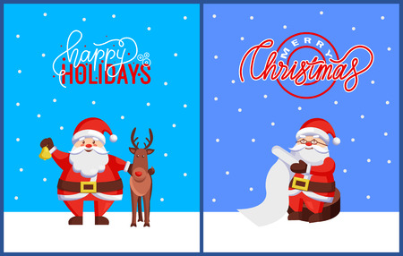 Christmas Greeting Cards with Santa Claus and Deer Illustration