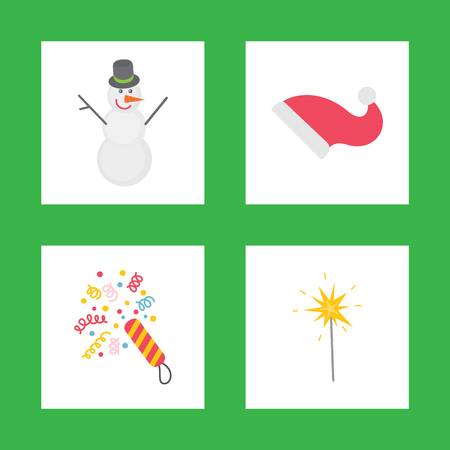 Holiday decorations for celebration New Year, snowman with Santa hat and confetti with bright sparkler vector. Flat Christmas icons isolated on green