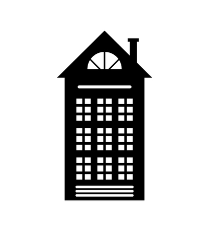 Residential Real Estate Building Icon Isolated